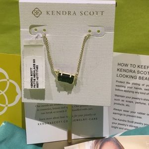 Kendra Scott Pattie necklace gold emerald drusy